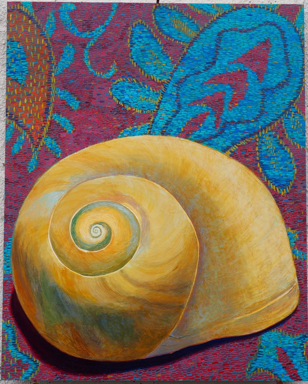 "Daniel Schroeder,   Moon Snail  , Acrylic on Panel, 16"" x 20"", 2018"