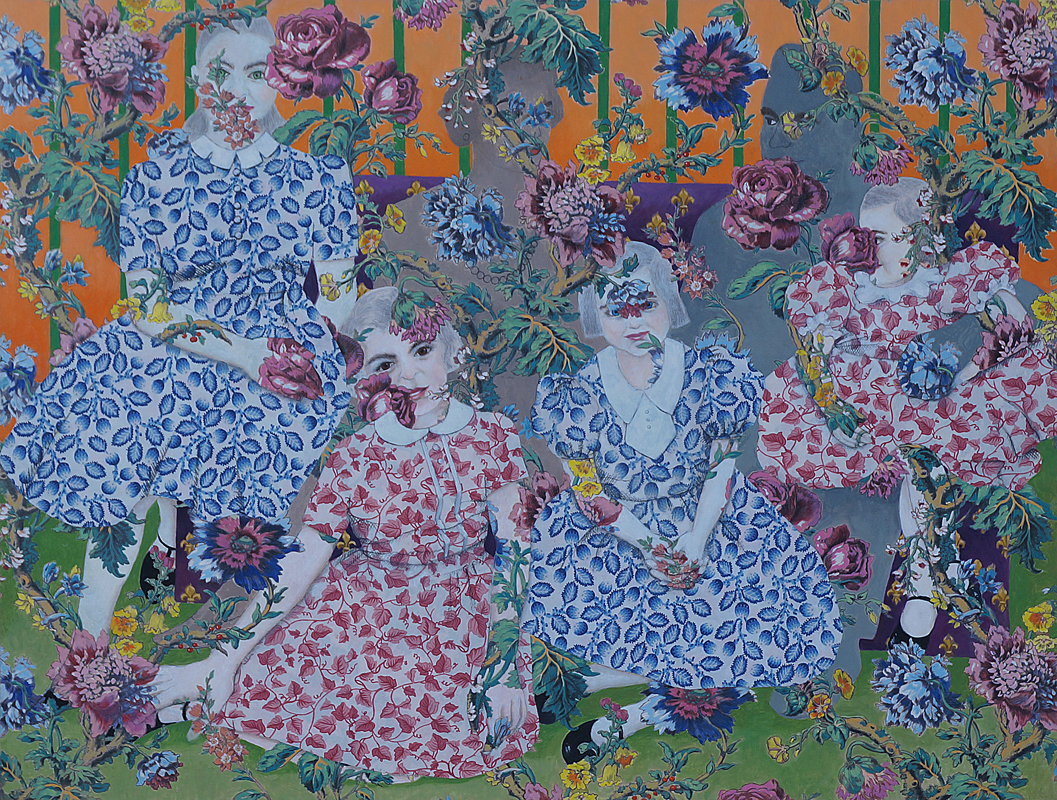 "Lydia Viscardi,   Girl in Their Orbit  , Oil on Printed Fabric, 32"" x 42"", 2016"