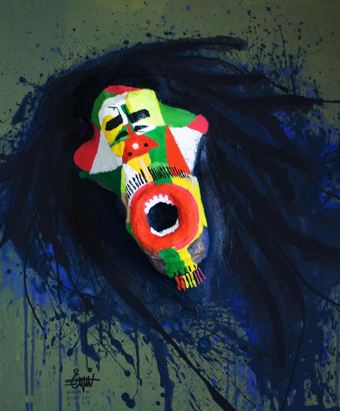 "Nasrin Sheykhi,  Bob Marley no.1 , Acrylic and Collage on Canvas, 24"" x 12"", 2018"