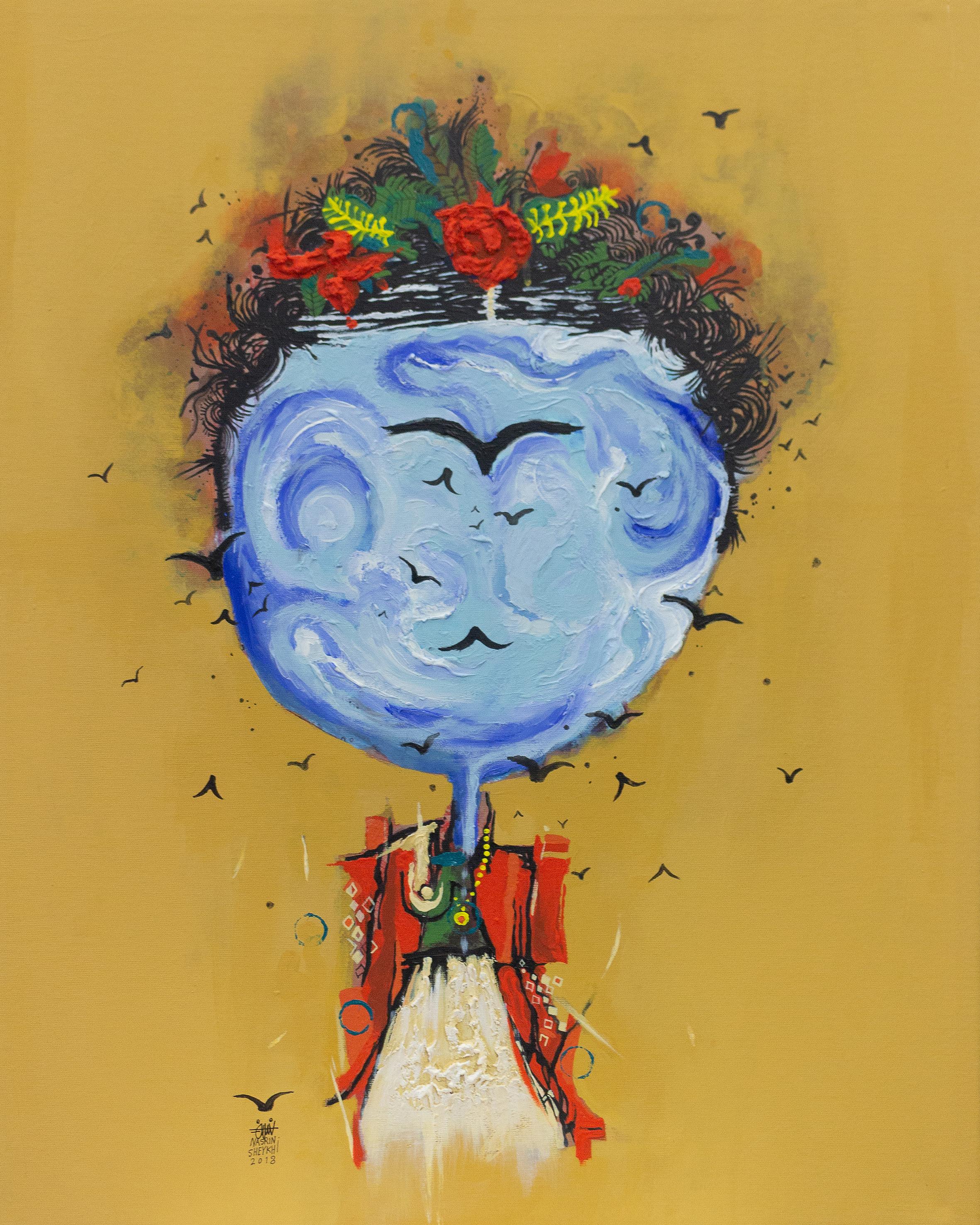 "Nasrin Sheykhi,   Frida Kahlo  , Acrylic and Collage on Canvas, 24"" x 12"", 2018"