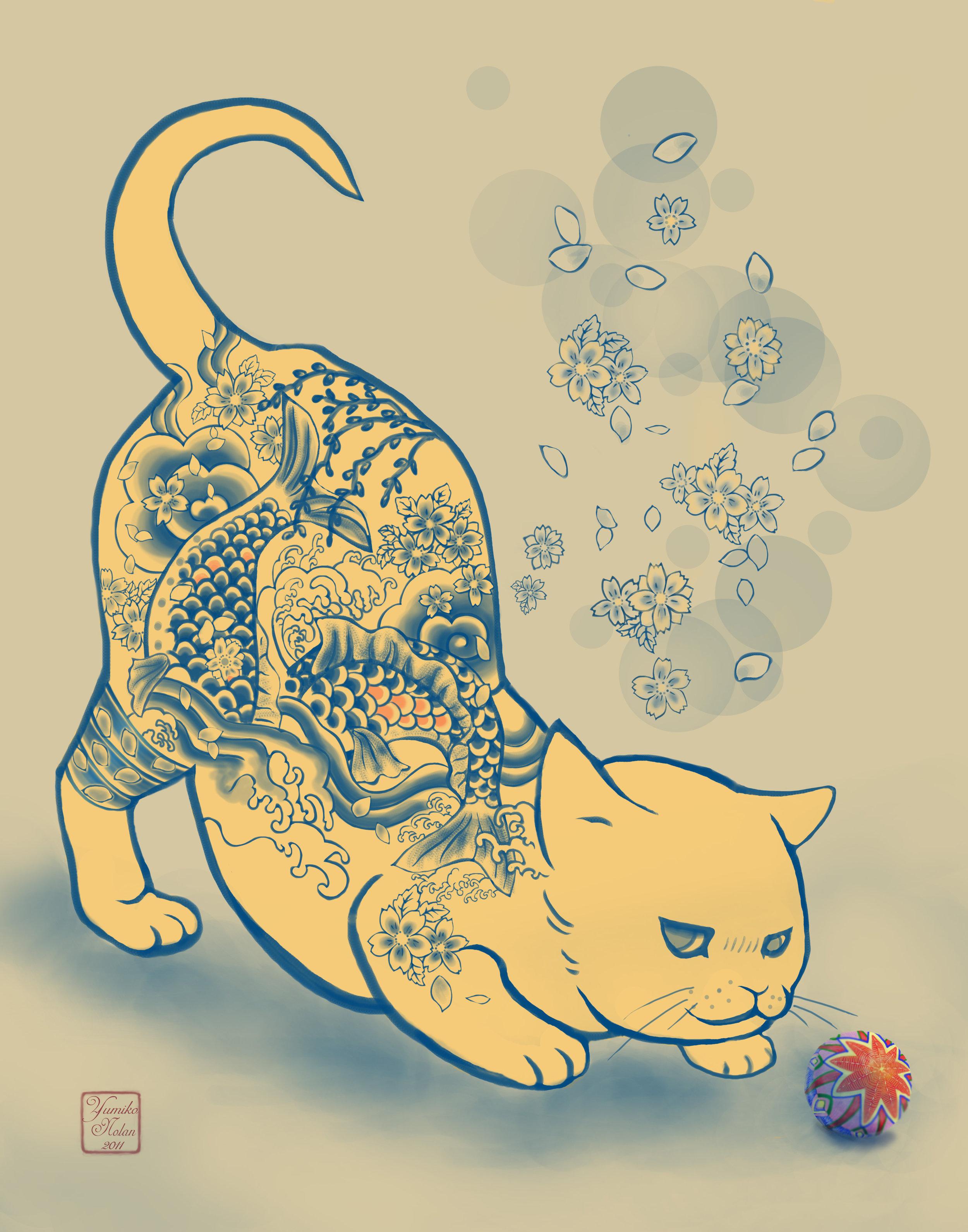 "Yumiko Nolan,   Cat and Temari  , Ditigal Art, 16"" x 20"", 2011,"