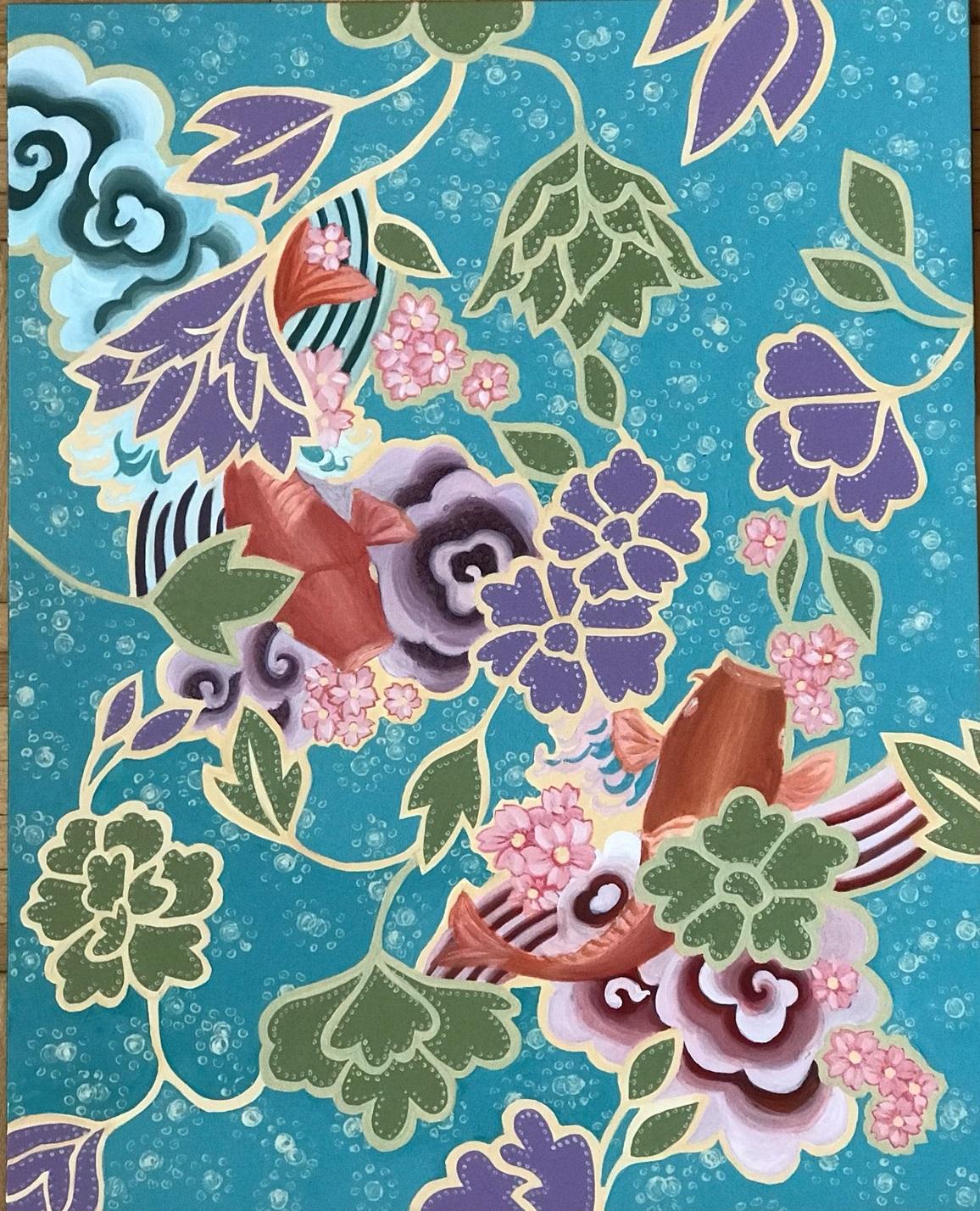 "Yumiko Nolan,   Spring Pond  , Acrylic on Board, 2019, 16""x20"", 2019"