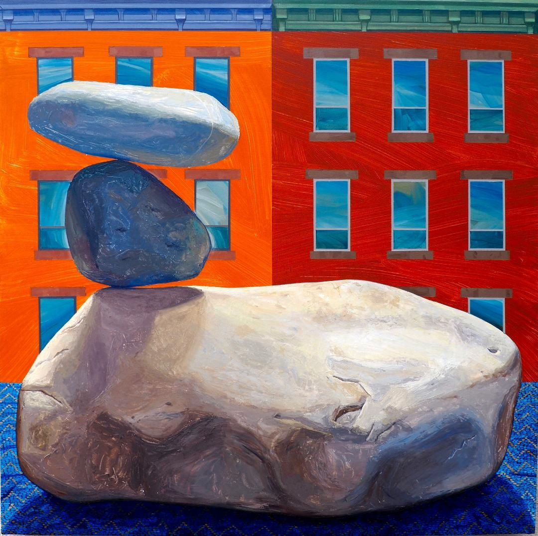 "Daniel Schroeder,   Balanced Rocks  , Acrylic on Panel, 30"" x 30"", 2018"