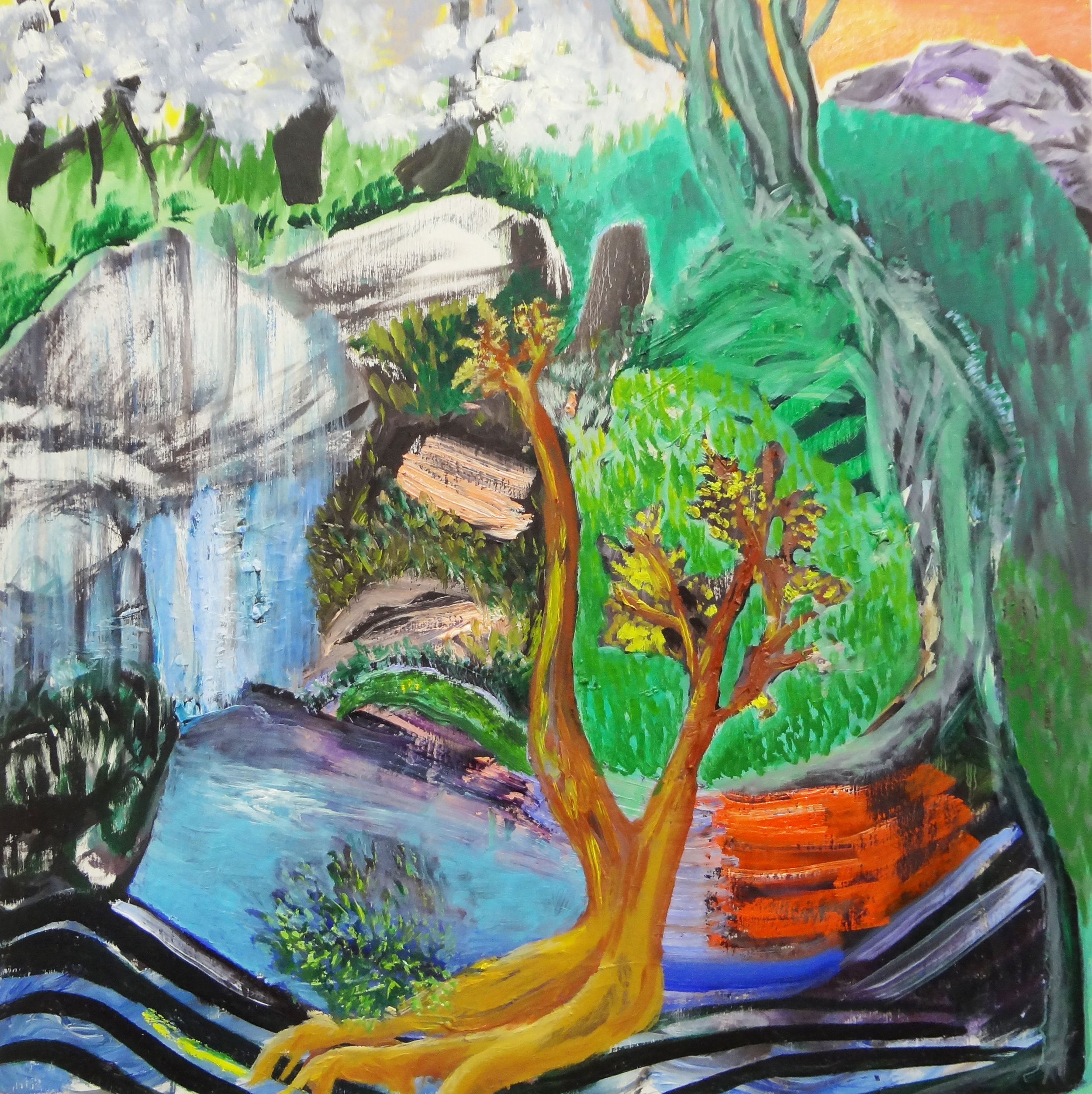 "Golden   by Cecilia Whittaker Doe  Oil on Birch Panel, 18"" x 18"", 2018"
