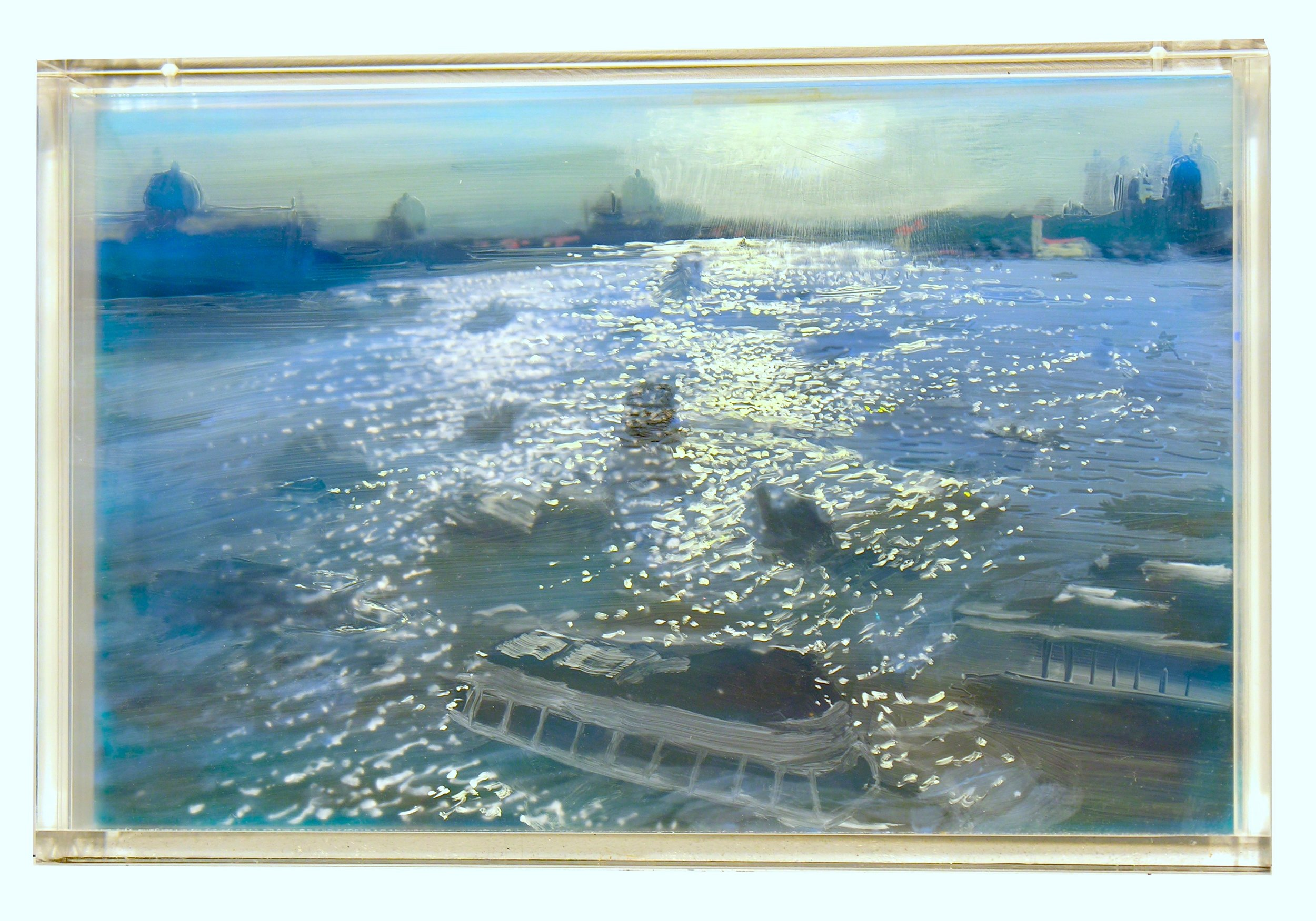 """Venice, Afternoon Traffic, 2 Days   by Martin Weinstein  Acrylic on Multiple Acrylic Sheet, 11"""" x 17"""", 2017"""