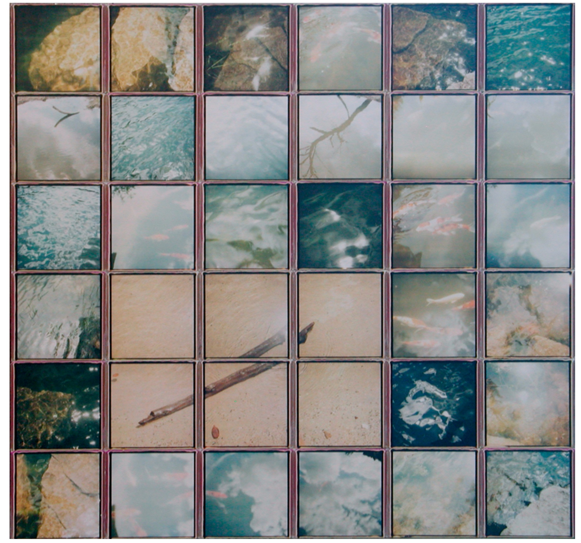 """Driftwood    by Patrick Winfield  Various Instant Films (Polaroid 600 Film, SX70 Film) on Panel,  22"""" x 21"""", 2017"""