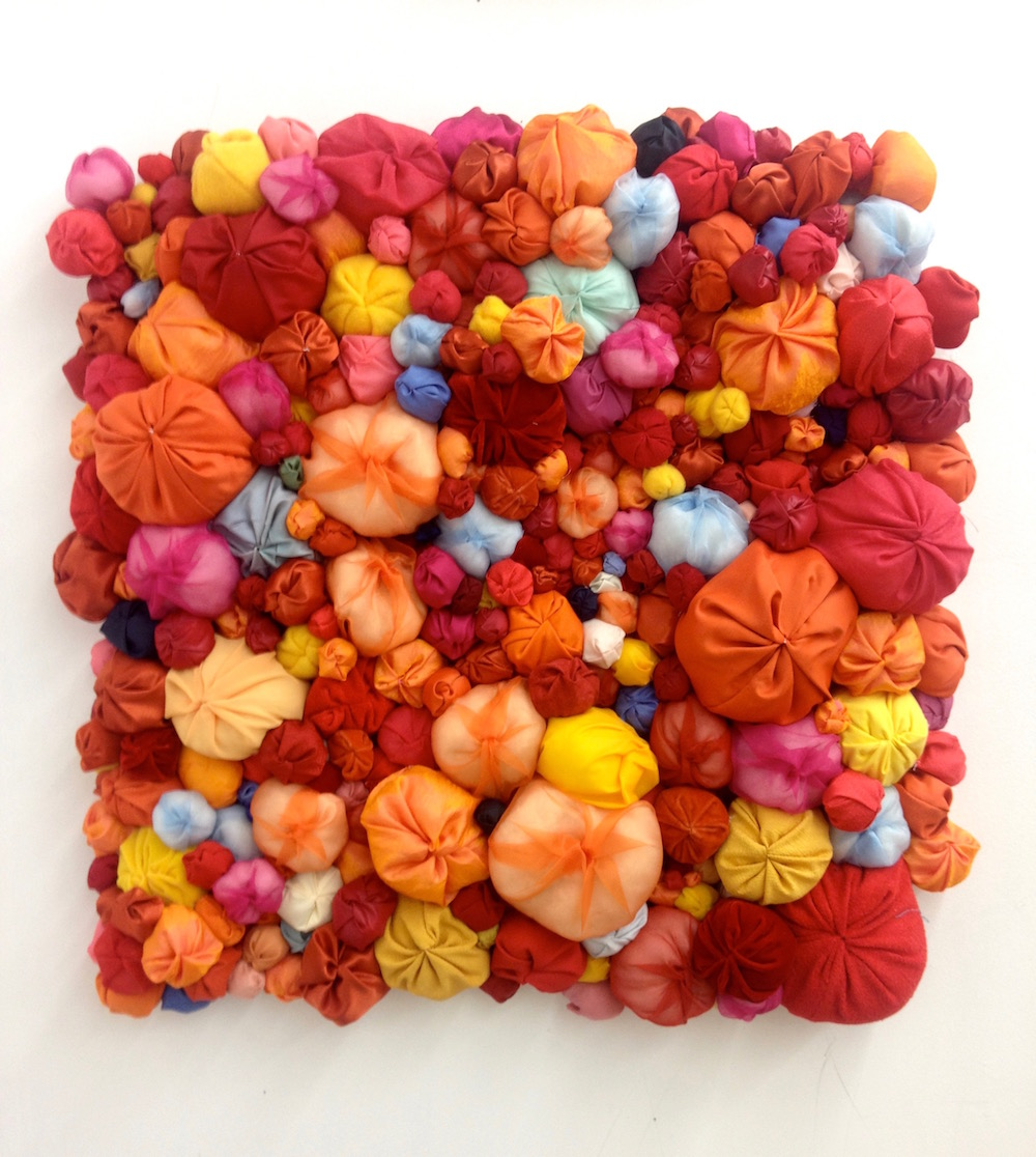 """Summer Memory   by Natsuko Hattori  Fabric and Sewn Cotton on Canvas, 36"""" x 36"""", 2014"""