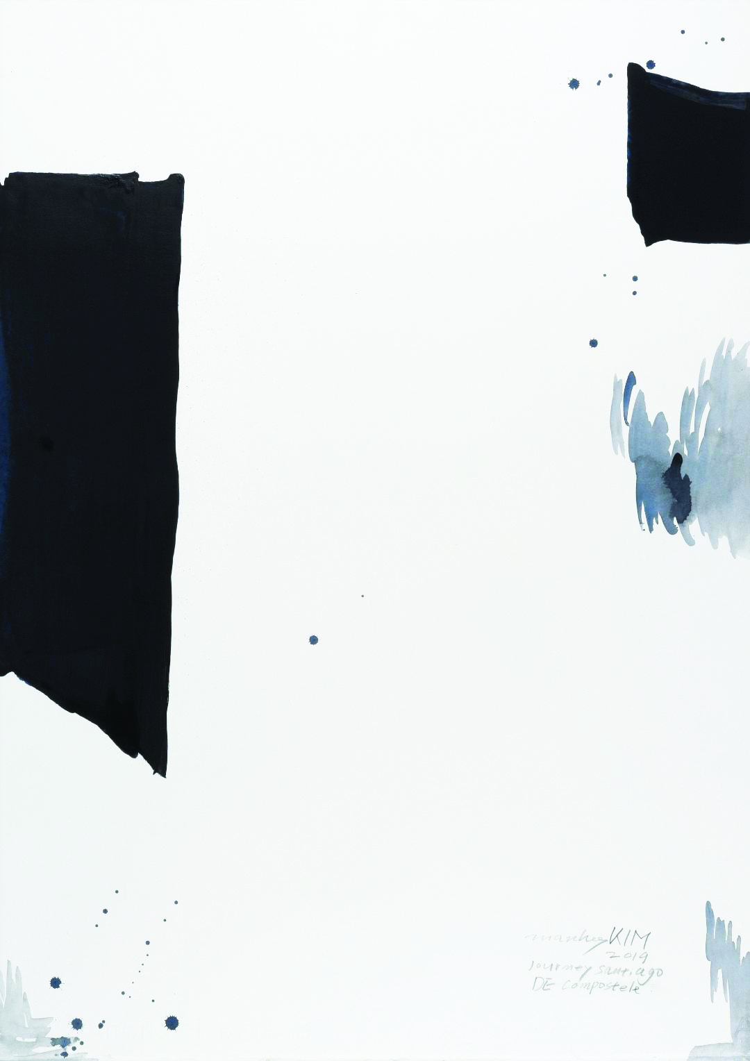 """Journey Santiago DE Compostele 2,      Acrylic on Canvas, 22"""" x 30"""".  Abstract vertical minimalistic painting mostly white, one black bar on each side."""