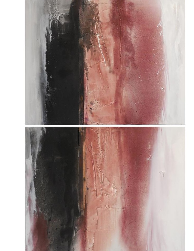 "In the Pink V    Oil / Mixed Media, 60"" x 36"" (Diptych) , 2018"