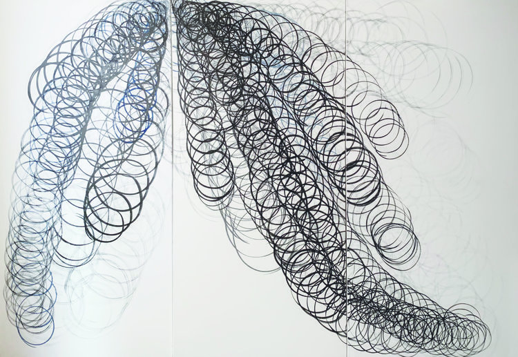 Bands of abstract calligraphic circles connected in a slinky-like manner with white background