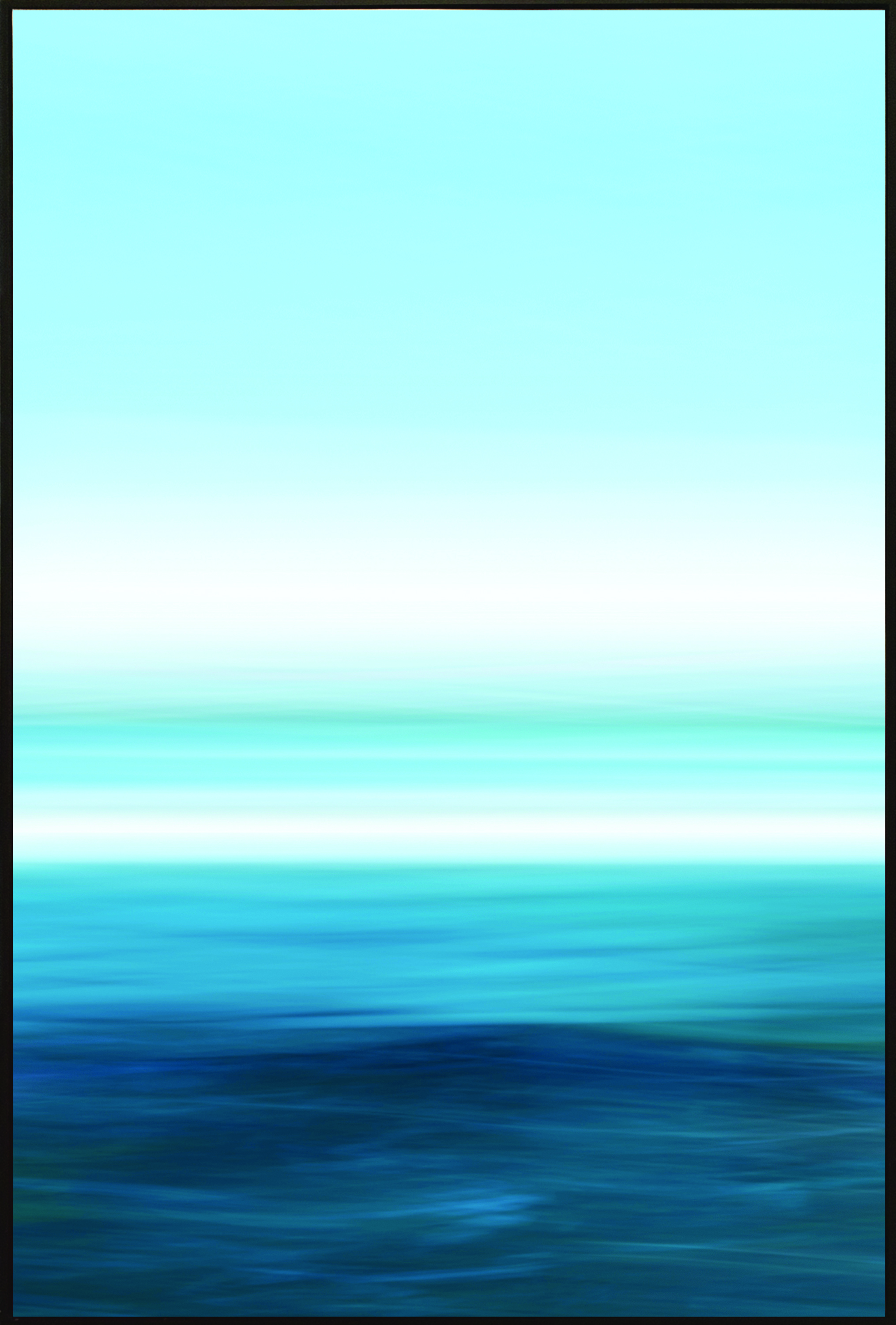 """HORIZON_08-LA   ,      Archival Giclee Print on 100% Cotton Paper with Protective Coating, 54""""x 36"""".  Colorfield vertical abstraction seascape with blue and white horizon in upper half."""