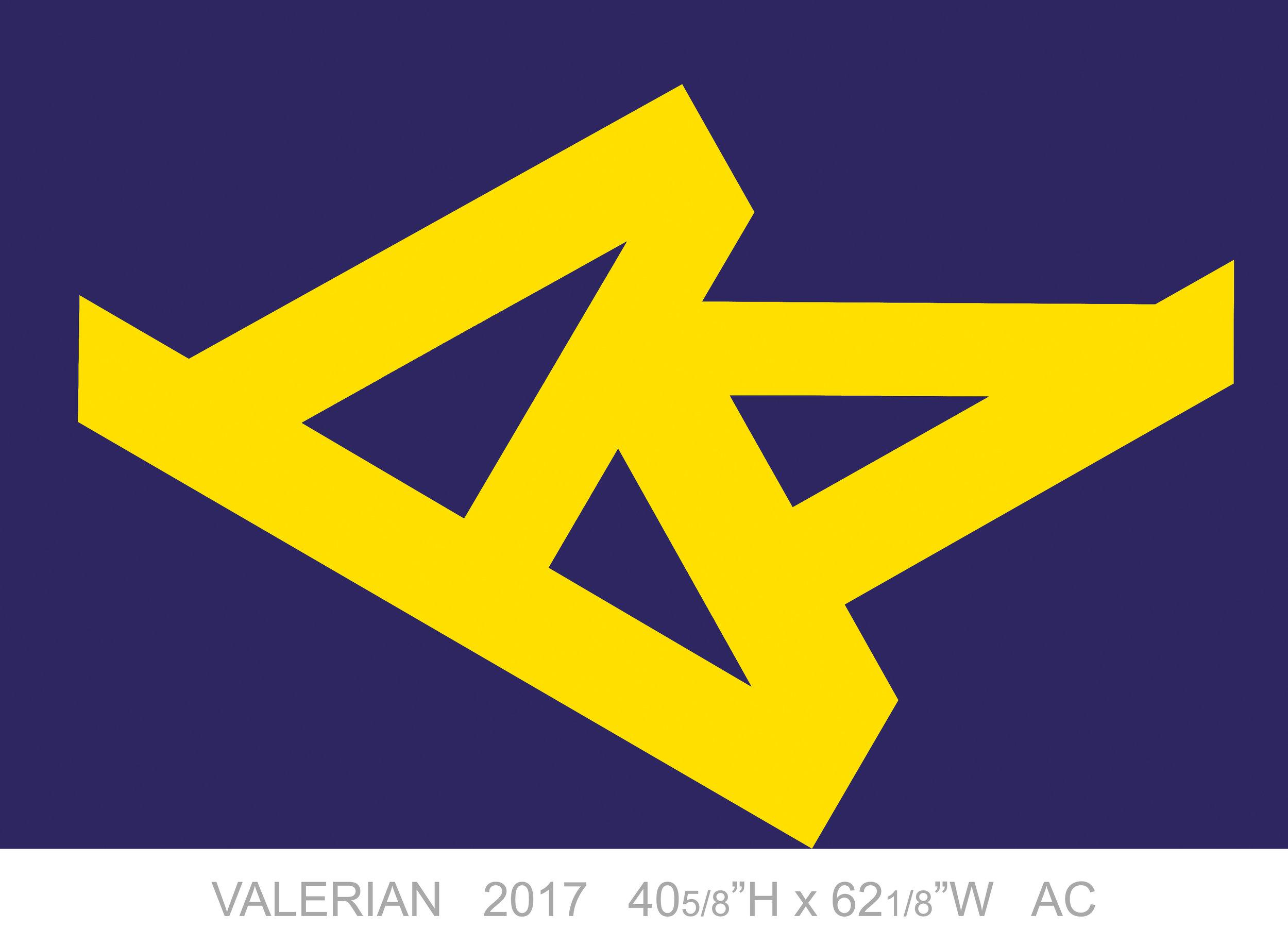 """Valerian, 2017, Acrylic on Canvas, 40 5/8"""" x 62 1/8"""""""