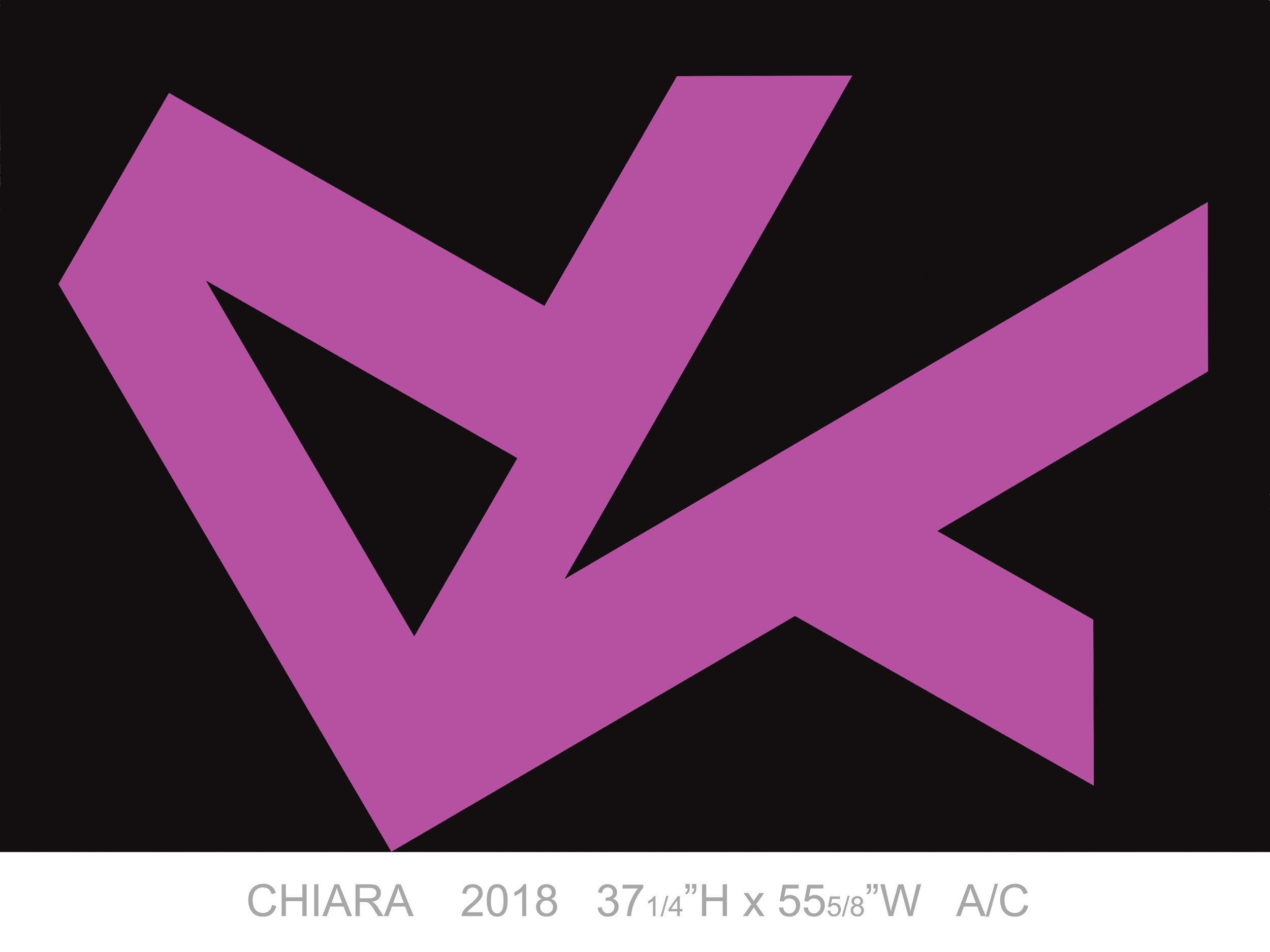 "Chiara, 2018, Acrylic on Canvas, 37 1/4"" x 55 5/8"""