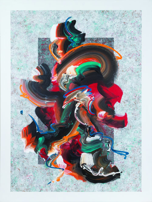 """Unleashed #1 , 2017, Acrylic on Canvas, 49.5"""" x 37.5"""".   Thick, swirling brushstrokes in black, orange, red, white and turquoise on a light grey textured background."""