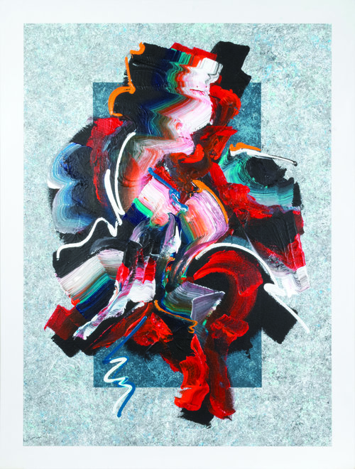 """Unleashed #22 , 2019, Acrylic on Canvas, 49.5"""" x 37.5"""".  Swirling brushstrokes in red, black, white and turquoise strokes  on a blue and light grey background."""