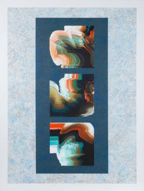 """Taliesin Legacy #2 , 2018, Acrylic on Canvas, 49.5""""x 37.5"""".  Three calligraphic shapes in black, white, orange and blue on a  dark blue rectangular background."""