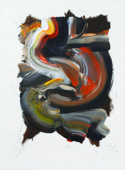"""Making Waves Vertical Series 1.4 , 2014, Acrylic and Graphite on Arches Paper, 39.5"""" x 31.5"""".  Swirling brushstrokes in black, white, orange, yellow and grey  with graphite pencil lines."""