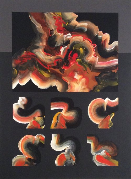 """Turbulence #7 , 2015, Acrylic on Canvas, 49.5"""" x 37.5"""".  Six swirling calligraphic shapes in black, white and orange with  one large rectangle."""