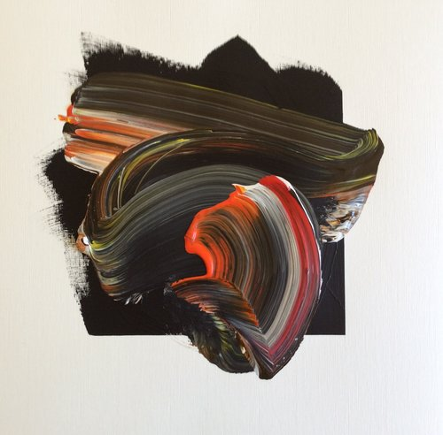 """Force 5 Series 1.5 , 2013, Acrylic and Graphite on Strathmore Paper, 20"""" x 20"""".  Brush strokes in black with accents in red, orange and white with accents of graphite lines."""