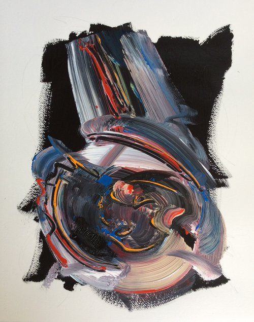 """Making Waves Series 1.7 , 2013, Acrylic and Graphite on Arches Paper, 29.5"""" x 23"""".  One large calligraphic shape in white, blue, red and orange on a black irregular background."""