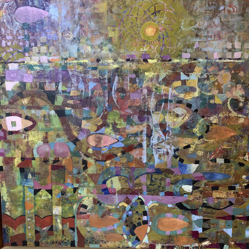 "Alise Loebelsohn, Olive Sunset, 2019, Oil and Wax on Birch Panel, 20"" x 20"".  Mosaic images of purple, brown, yellow, orange, green, blue with figurative multicolor lines."