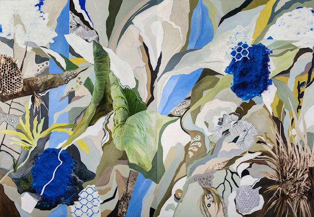 Large negative spaces in white blue green beige and gray are dividing the canvas into parts of a never ending nature inspired plants and hexagons.