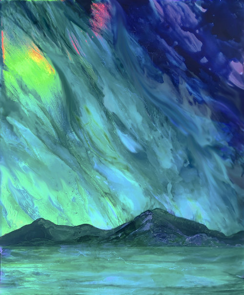 Emerald clouds form aurora borealis above a mountain range and lake.