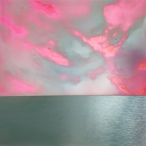 White clouds and pink sky hover above a silver sea.