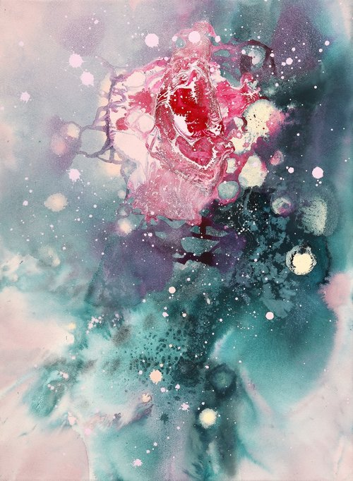 "Miyoung Park, The most brilliant moment, 2019, 28.5"" x 21"".  Abstract flower painting with red rose in the center, green and pink background with white and pink splashes."