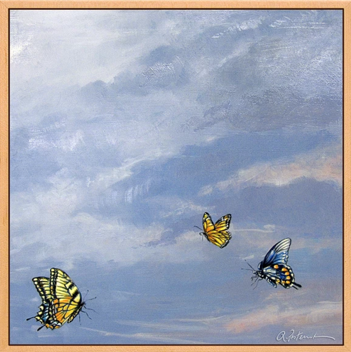 """Three Butterflies, 2019, Oil on Board, 20"""" x 22"""". Three butterflies against a blue sky with clouds."""