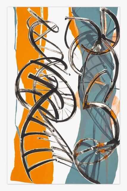 Two double helixes in white and gray partially obscure an orange abstract figure.