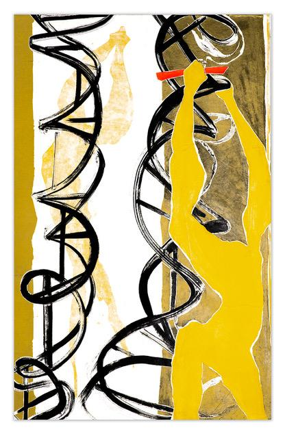 Two abstract yellow figures intertwine with two bronze and black double helixes .