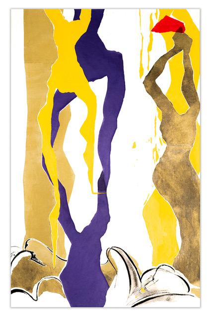 4 purple, yellow and bronze abstracted figures rise from the waves.