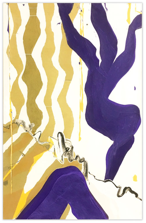 Two abstract purple figures are backed by rhythmic kaki–colored stripes.