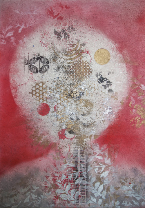 """Thinking , 2015, Oil Based Ink on Mulberry Paper Board Mount, 35"""" x 25"""" x 2"""".  Asian inspired abstraction with dominant white moon in the middle surrounded by red background and silver leaves on a gold foreground."""