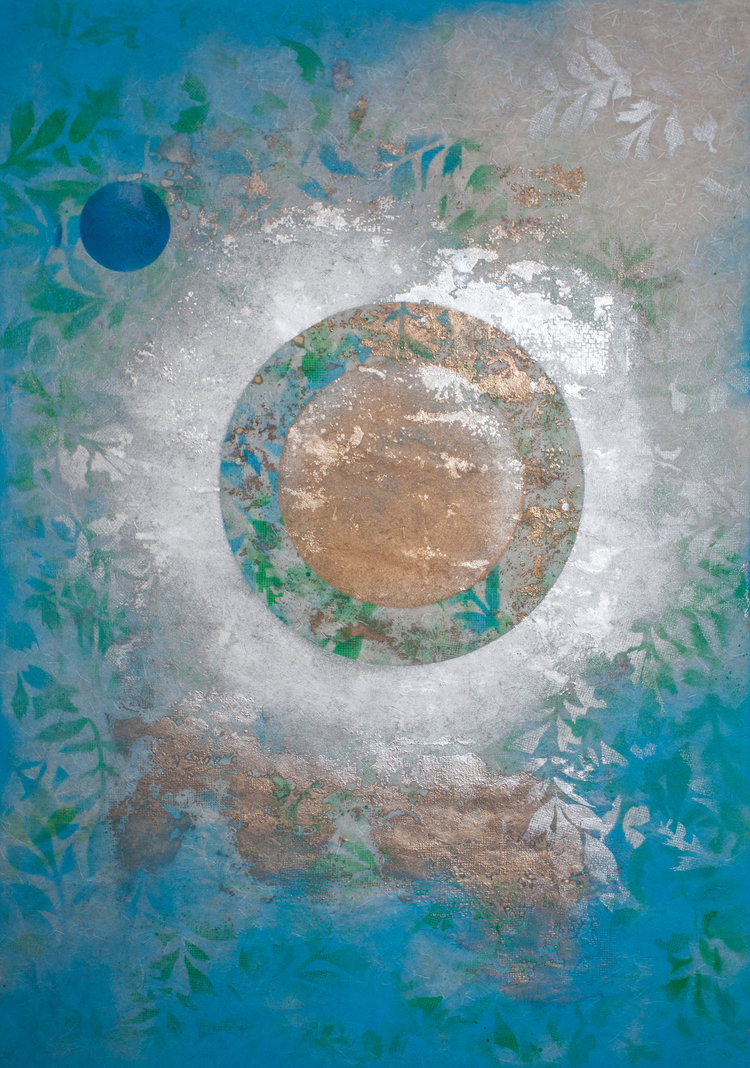 """Garden Planet , 2018, Oil Based Ink on Mulberry Paper Board Mount, 35"""" x 25"""" x 2"""".  Asian inspired abstraction with the color blue dominating all over and green leaves, clouds, and circular gold focus in the middle of the painting."""