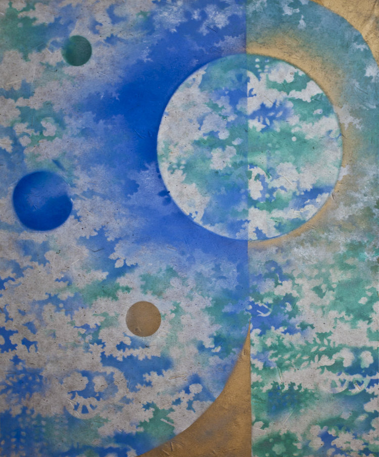 """Water Planet (SOLD) , Oil Based Ink on Mulberry Paper Board Mount, 35 1/4"""" x 30 1/2"""" x 2 1/2"""".  Three moons with blue sky and gray clouds and green leaf-like background."""