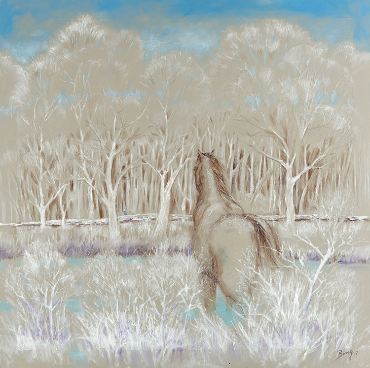 "Longing-Winter, 2017, Oil on Canvas, 36"" x 36"".  Equestrian landscape with white trees and tan horse."