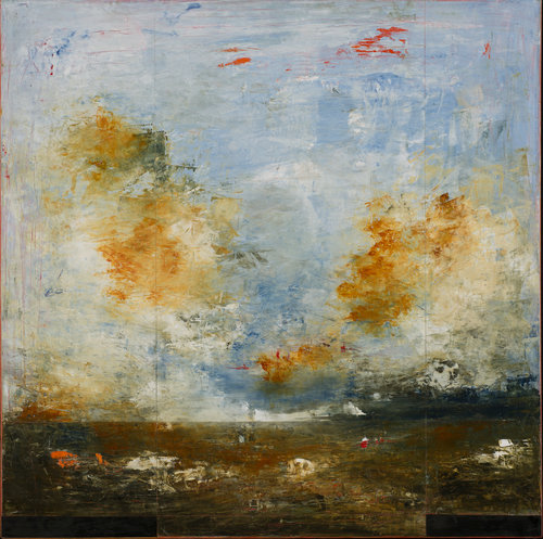 """Anse Marechal No. 3 , 2017, Oil on Panel, 48"""" × 48"""".  Abstract horizon based landscape with clouds clouds are yellow and white while lower landscape is primarily brown."""