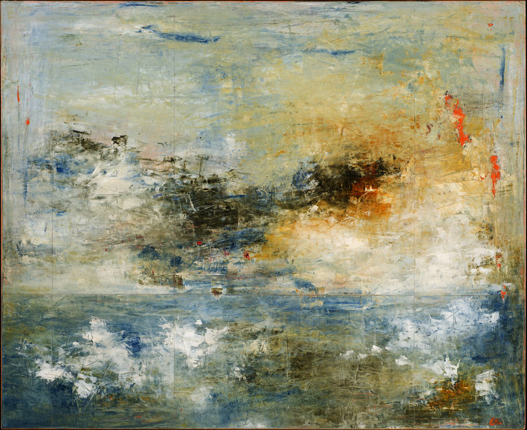 """Sherrick's Bay No. 2 (SOLD) , 2017, Oil on Panel, 48"""" × 60"""".  Abstract based sea scape with yellow and white clouds and blue of the sea and sky predominated."""