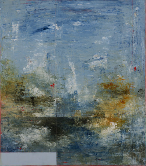 """Shoval Bay No.4 , 2017, Oil on Panel, 60"""" x 48"""".  Abstract horizon based seascape in monochromatic blues."""