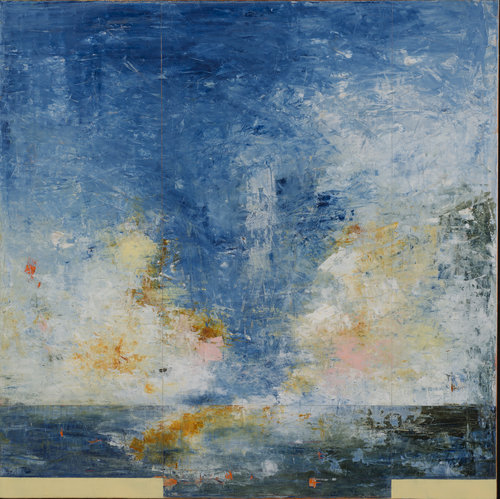 """Chasing Rain - Merrywing Bay , 2017, Oil on Panel, 48"""" x 48"""".  Abstract horizon based seascape monochromatic blues with white, yellow, blue clouds on the horizon."""
