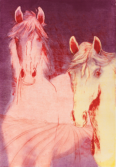 "Two Horses, 2010, Monoprint, 41 1/2"" x 29"".  Two horses monochromatic in red and white."