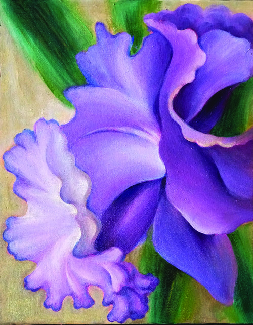 """Purple Daffodil , 2018, Oil on Canvas, 14""""x11"""".  Purple daffodil with green stem and tan background."""