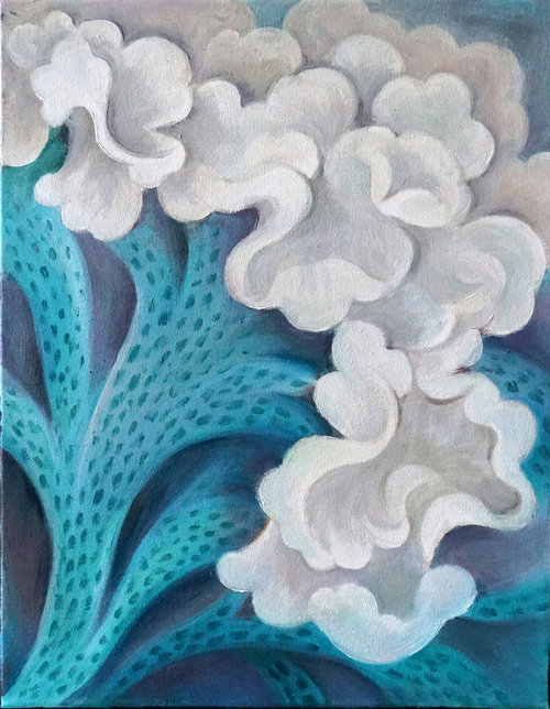 """Cockscomb , 2018, Oil on Canvas, 14""""x11"""".  White abstract cockscombs with green stems and blue background."""
