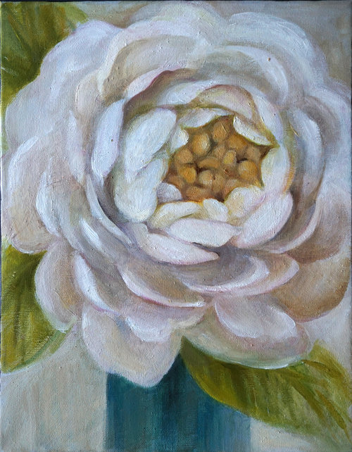 """White Dahlia , 2018, Oil on Canvas, 14"""" x 11"""".  White abstract dahlia with green leaves and gray background."""