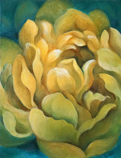 """Yellow Blossom , 2018, Oil on Canvas, 12"""" x 16"""".  Yellow abstract dahlia with green background."""
