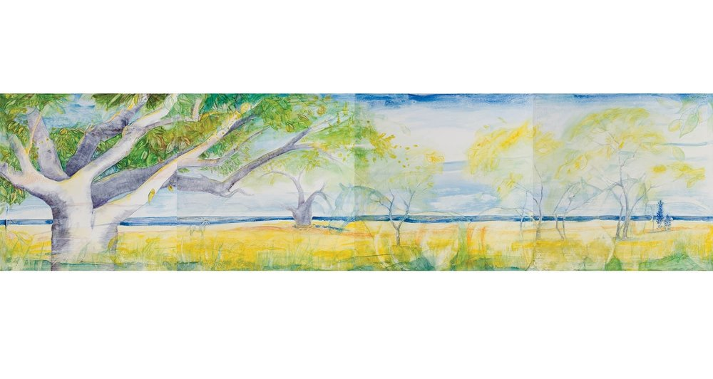 "Connecticut Shore, 2015, Oil on canvas, Tetratych, 30"" x 120"".  Trees and yellow foreground with ocean, blue and white sky on horizon."
