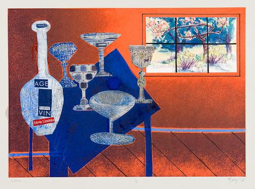 "Wine, 2013-2015, Ink on paper with collage, 13"" x 18"".  Still life in orange room with blue table, wine glasses, window viewing trees."