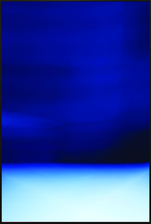 """HORIZON_09-NYC , Archival Giclee Print on 100% Cotton Paper with Protective Coating, 54""""x 36"""".  Colorfield vertical abstraction seascape light blue bottom third, dark blue upper 2/3s."""